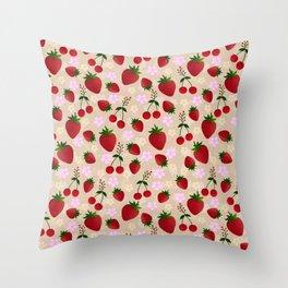 Strawberries and cherries to sweeten your wardrobe Throw Pillow