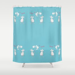 two enamored mouses Shower Curtain