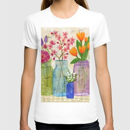 Springs Flowers in Old Jars T-shirt