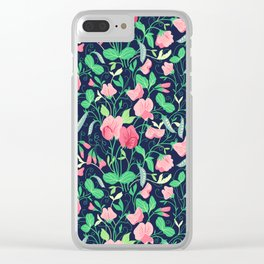 Pretty floral pattern. Sweet Pea. Clear iPhone Case