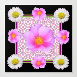 Modern Art Style Shasta Daisy Pink Roses  Black Color Abstract art Canvas Print