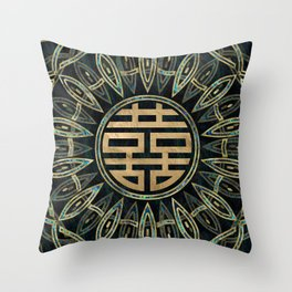 Double Happiness Symbol Gold and Abalone Throw Pillow