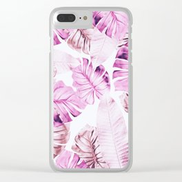 Pastel Monstera pattern Clear iPhone Case