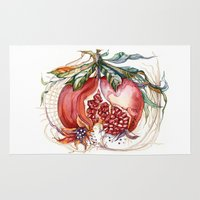 pomegranate Area & Throw Rugs featuring Pomegranate by Irina Vinnik