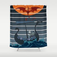 viking Shower Curtains featuring The Viking by milanova