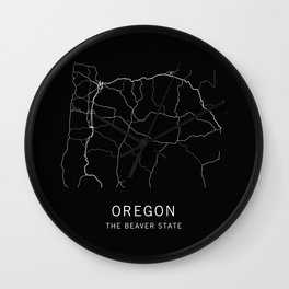 Oregon State Road Map Wall Clock