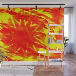 Glowing exploded background of red and yellow flowing lines and stars. Wall Mural
