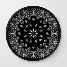 black and white bandana pattern Wall Clock
