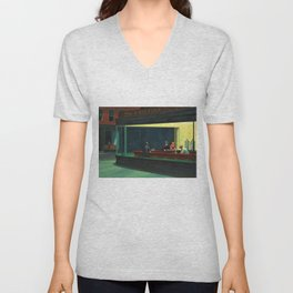 NIGHTHAWKS downtown diner late at night iconic cityscape oil on canvas painting by Edward Hopper Unisex V-Neck