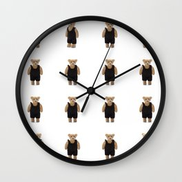 Teddy Bear with a Black Jumpsuit Wall Clock