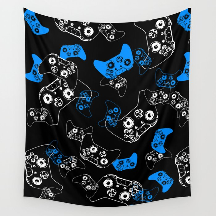 Video Game Blue on Black Wall Tapestry by ts55  2a0142b75