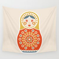 russian Wall Tapestries featuring RUSSIAN DOLL by Ludivineem