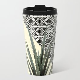 Dracaena Plant on Lemon and Lattice Pattern Wall Travel Mug