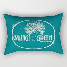 Village Green Bookstore Tan on Green Rectangular Pillow