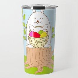 funny rabbit on the stump Travel Mug