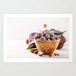 Fresh organic purple fruits and vegetables Art Print