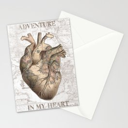 adventure heart-world map 1 Stationery Cards
