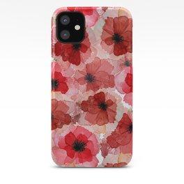 Pressed Poppy Blossom Pattern iPhone Case