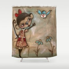 I Feel the Same  -  A Monkey, A Blue bird, and Love Shower Curtain