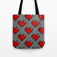 Knitted heart pattern - gray Tote Bag