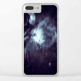 Orion Nebula Midnight Steel Blue Clear iPhone Case