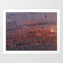 Surface of Mars Low Poly Geometric Triangles Art Print