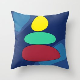 Abstract digital Zen balance art. Stack of stones on a blue background Throw Pillow