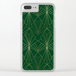 Art Deco in Gold & Green Clear iPhone Case