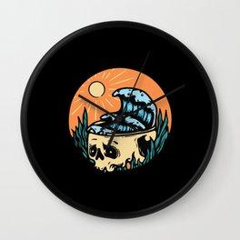 Skull Skeleton Horror Halloween Summer Beach Wall Clock