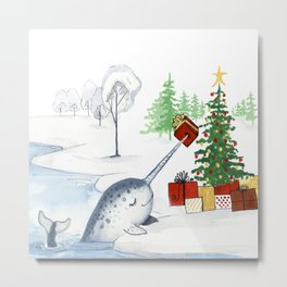 Christmas Narwhal Metal Print
