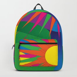 Psychedelic Sun Neon Mountain River Lands Backpack