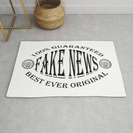 Fake News badge (black on white) Rug