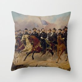 Grant and His Generals Painting Throw Pillow