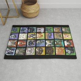 Cats and Dogs in Black Rug