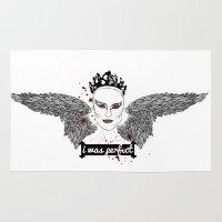 black swan Area & Throw Rugs featuring Black Swan by raeuberstochter