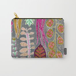 Warm Tone Dotty Leaves and Flowers Carry-All Pouch