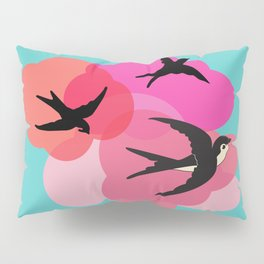 Spring swallows and clouds Pillow Sham