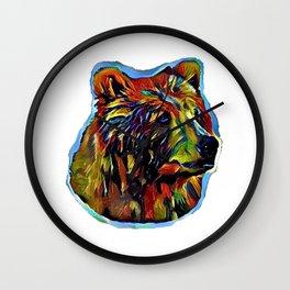 Kaleidoscope Bear on White Wall Clock