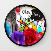 okay Wall Clocks featuring okay... by Aldo Couture