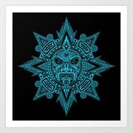 Ancient Blue and Black Aztec Sun Mask Art Print