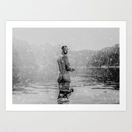 Alpine Snow Lake Nude Art Print