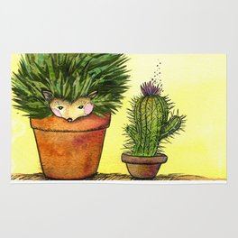 Cactus Hedgehog Collage Rug