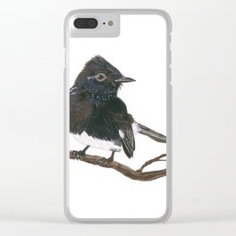 Black Phoebe Watercolor Clear iPhone Case