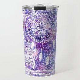 Boho doodles dreamcatcher floral pink purple watercolor Travel Mug