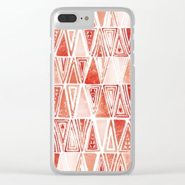 Modern Coral Tribal Ethnic Triangles Pattern Clear iPhone Case