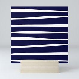 Blue- White- Stripe - Stripes - Marine - Maritime - Navy - Sea - Beach - Summer - Sailor 4 Mini Art Print