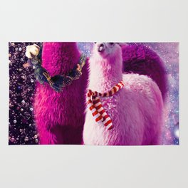 Crazy Funny Christmas Rainbow Llama In Space Rug