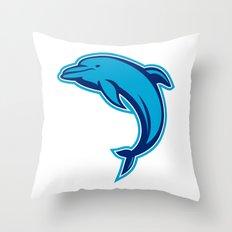 Blue Dolphin Jumping Retro Throw Pillow