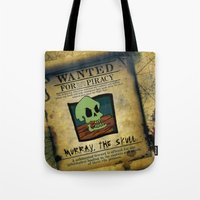 monkey island Tote Bags featuring Monkey Island - WANTED! Murray, the Skull by Sberla