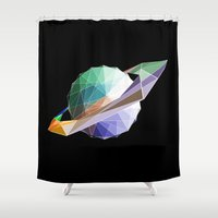 saturn Shower Curtains featuring Saturn by Tony Vazquez
